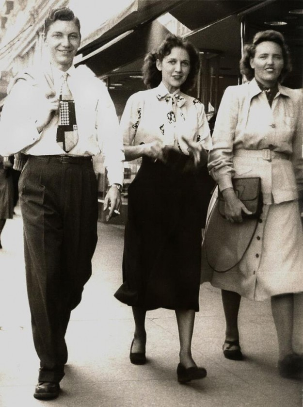 "My mother, Marilyn Paschall Simmons, in the center, with co-workers Bill Michero and Doris Russell. They worked at Tandy Leather Co. in Fort Worth and were on their lunch break when a ""man on the street"" photographer took their picture. My Mom says she thinks the picture might have been published in the Star Telegram but can't remember for sure and she doesn't recall how she obtained a copy of it. This photo was taken in about 1947. She worked for Tandy during the War and again for about three years after the war. Dave Tandy originally hired her and she just loved him, and loved working at Tandy. Contributed by Niki Davis Lee."