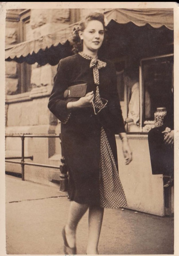 This is Lucille Vandergriff Miller strolling down the sidewalk of Fort Worth. Contributed by Marsha Miller Wagner.