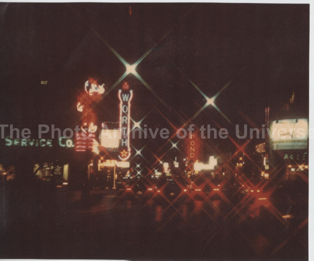 Item #141 Seventh Street Ready Killowatt sign, Worth Theater, Photo taken about 1972 by Les