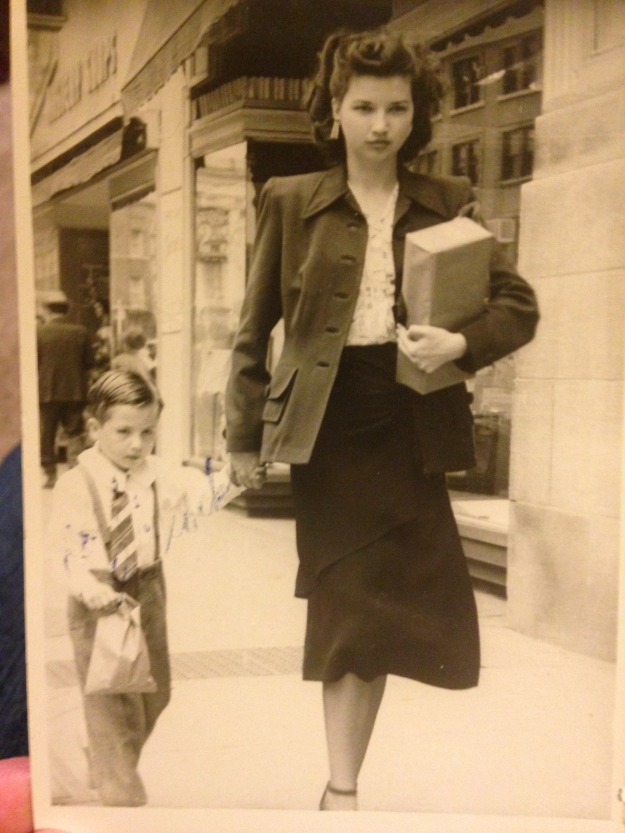 Aunt Ada Hall and her nephew George Gillock on a regular trip to town in the 1950's. Contributed by Amy