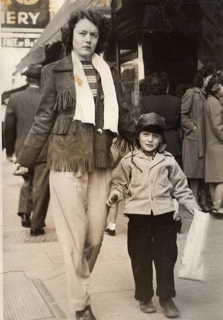 Mary Jo Lawrence and brother Don, Downtown Fort Worth Tx. 1946 Contributed by Beverly Reddell