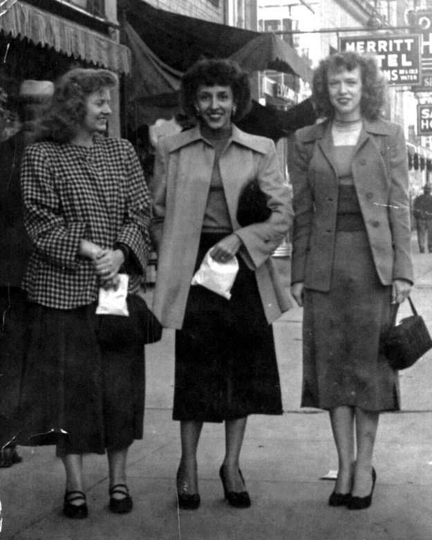 Wilma Mahanay, Louise Dearing and Betty Lance downtown Ft. Worth. All three worked at Southwestern Bell as telephone operators in the late '40's and early '50's. thanks,Beverly