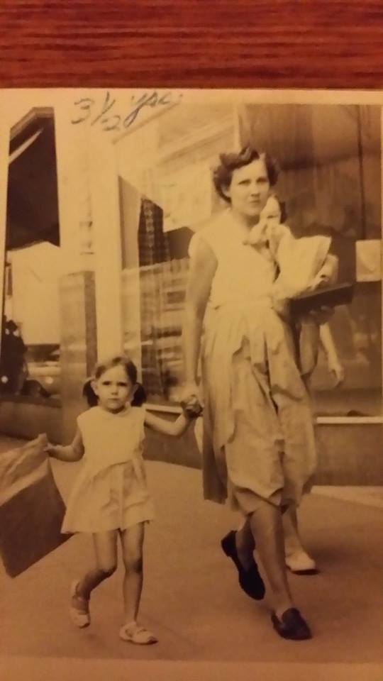Taken Summer 1958. Letha Nell Smelser and daughter Brenda Smelser. Contributed by Brenda Smelser Hay