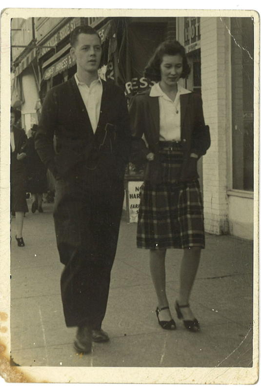 "Garl 'Bud"" Ray and Lorene Ray on the City Sidewalks of Fort Worth in 1940's Contributed by Larry Brown."