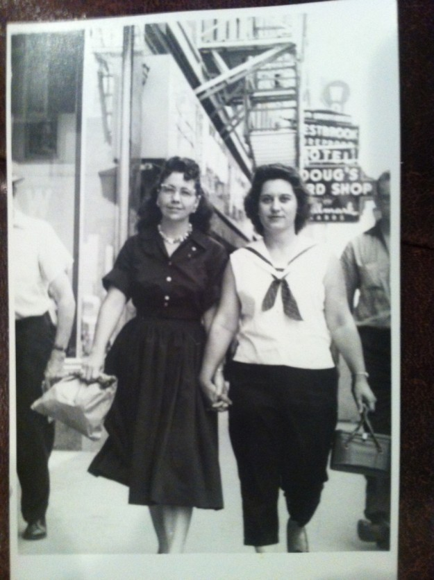 Doris Brown Fisher and Doris Scroggins about 1954 to1958. Contributed by Karen Fisher McCuistion. Notice the Westbrook Hotel and Doug's Record Store signs in background.