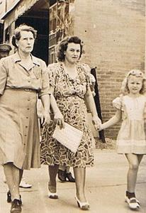 Ida Walker with daughter Ivy Walker Mahanay and granddaughter Lou Mahanay Bull, downtown Ft. Worth. Contributed by Beverly Short