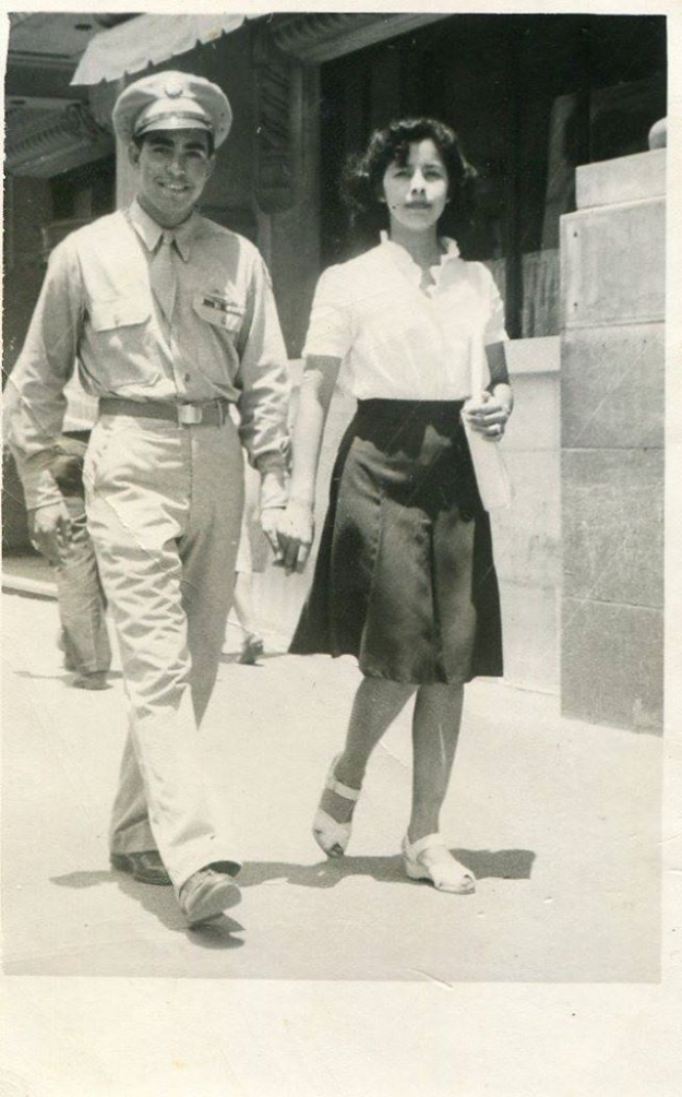 Hope and Joe Vargas, walking in downtown Fort Worth when my dad was on leave before he left for Germany in 1944. He was 18 and my mother was 16. Thanks! Janet Vargas
