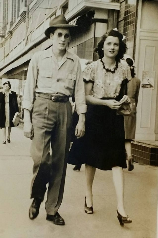 "This is a picture of my grandma, Vivian Faye Brooke (Gray) and her brother Luther ""Bug"" Brooke. I'm not sure of the year but I think it's around 1943, it was before she was married. I'd love to know where they were! Contributed by Jennifer Gray Flannery"