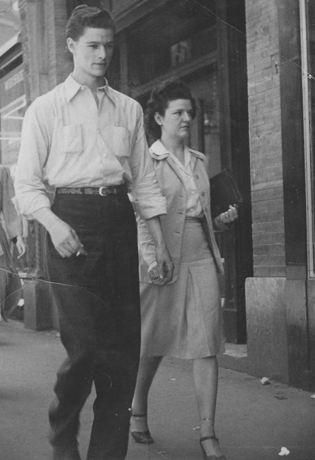 Another sidewalk photo from downtown Fort Worth. My paternal grandparents, John Robert Ray and Connie (Carlene) Rogers Ray. Contributed by Randi Ray Smith