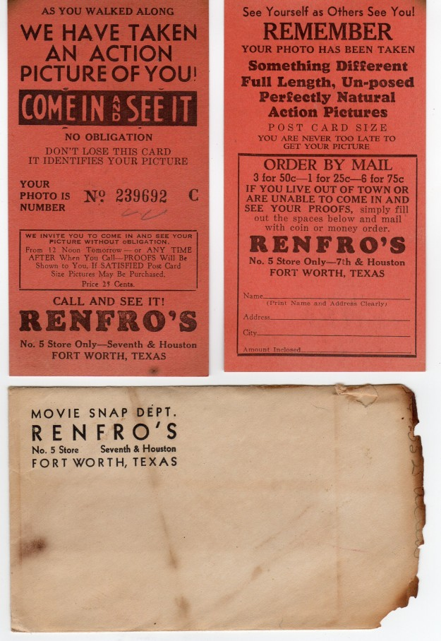 As you walked along Downtown Fort Worth City Streets, a Renfro's Photographer would snap your Photo. They would give you this ticket and an envelope for you to mail. The photos were Post Card size and cost one for 25 cents. This Renfro's was at 7th & Houston St. These tickets and envelope were contributed by JoGale Mills.
