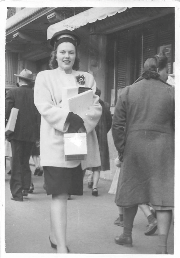 My mom, Marie Graham-Counts. Approximately 1945 or 46 at Christmas time (check out the little bells on her corsage). And I believe I have that little box which was from Cox's. Thank you for adding her, contributed by Cheryl Counts-Plotner