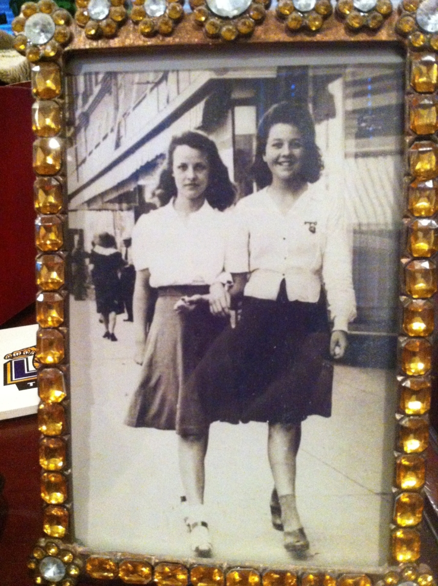 On the Streets of Fort Worth. On the Right; Doris Brown Fisher On the Left; Kathryn McPherson. Contributed by Karen Fisher McCuistion.