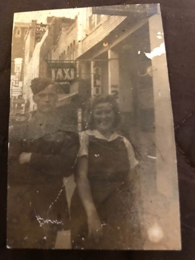 My uncle Billy Riley served in WWII. Tessie Riley is my aunt and his sister. They are in downtown Ft Worth. I'm not sure but I suppose Uncle Billy was on leave. Contributed by Sue Rivers Jarvis Witt