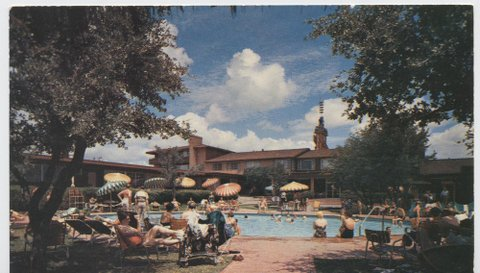 Swimming Pool and Cabanas at Western Hills Hotel Camp Bowie and Highway 80.