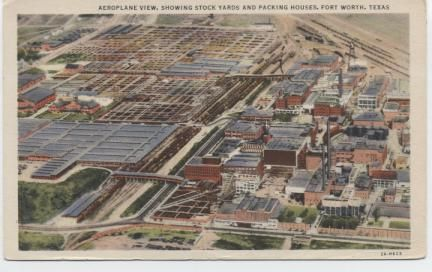 Aeroplane View , showing Stock Yards and Packing Houses, Fort Worth, Texas