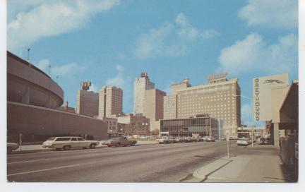 Shown are Convention Center, Bank of Commerce, Waggoner Bld. Contiental National Bank, Fort Worth National Bank, Continental Life, Sheraton Fort Worth Hotel and the Greyhound Bus Station