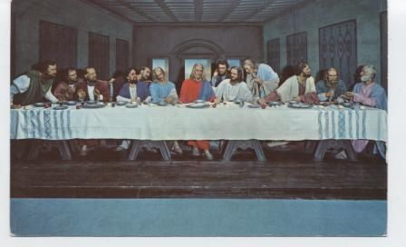 """The Lord's Supper Display."" Life size interpretation in wax. Downtown Fort Worth."