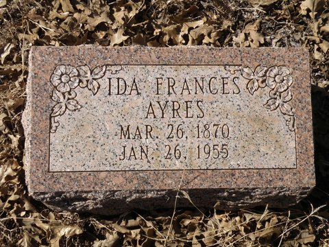 Ida Ayers, Benjamin P. Ayers' granddaughter was the last Ayers descendent buried in the cemetery in 1955.