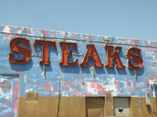 Steaks, The back of the now closed Rodeo Steakhouse east of the Water Gardens.