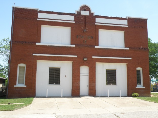 Fire Station # 12 Located at 2410 Prospect Ave. North Side Fort Worth. Built in 1910 to house horse drawn equipment. Photo taken by Les Crocker. 4-23-14 at 1:13PM.